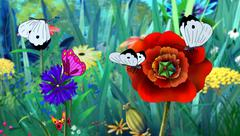 White Butterfly and Red Flower full color image - stock illustration