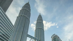 Time lapse of day to night at Petronas Twin Towers KLCC Stock Footage