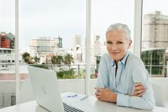 Mature businesswoman in office with laptop Stock Photos