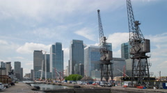 Construction site in front of skycrapers - time lapse - Canary Wharf, London Stock Footage