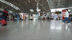 Time lapse of Incheon Airport departures hall Stock Footage