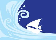 Tsunami wave with sailing boat Piirros