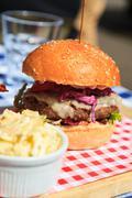 Hamburger at the traditional restaurant in Scotland, UK Stock Photos