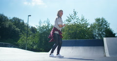 4K Young urban street dancer showing off some moves at skate park - stock footage