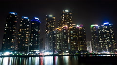 Waterfront Marine City, Night View 4K Timelapse, Busan in South Korea Stock Footage