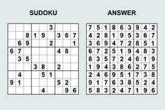 Vector sudoku with answer. - stock illustration