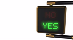 "Traffic light with alternately changing the words ""No/ Yes"" Stock Footage"