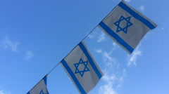 Israel Flags Waving In The Wind Stock Footage