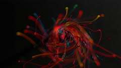 Rainbow of colored paint spiral in slow motion, on black ALPHA MATTE Stock Footage