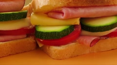 Sandwich with ham Stock Footage