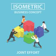 Isometric business people pushing and assembling four jigsaw puzzles Stock Illustration