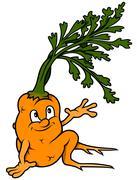 Cartoon Carrot Sitting - stock illustration