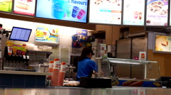 One side of woman cleaning tools at juice bar food court Stock Footage