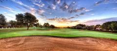 Golf course panorama - stock photo