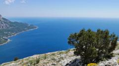 The southern coast of Crimea. View from Mount Kush-Kaya Stock Footage