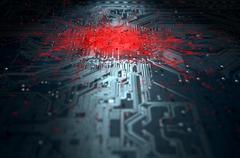 Macro Circuit Board Infection Stock Illustration