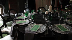 Decorated for wedding elegant dinner table outdoors Stock Footage