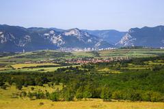 Panoramic view to the town of Vratsa, Bulgaria Stock Photos