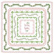 Set of decorative floral square frames - stock illustration