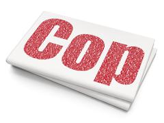 Law concept: Cop on Blank Newspaper background - stock illustration