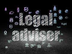Law concept: Legal Adviser in grunge dark room - stock illustration