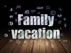 Travel concept: Family Vacation in grunge dark room - stock illustration