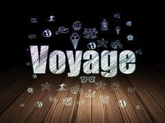 Travel concept: Voyage in grunge dark room - stock illustration