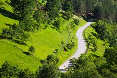 Winding road through scenic forested scenery - stock photo