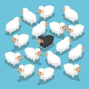 Isometric black sheep in the flock Stock Illustration