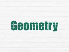 Studying concept: Geometry on wall background - stock illustration