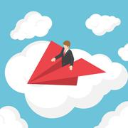 Isometric businessman on paper airplane above the cloud Stock Illustration