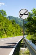 End of overtaking prohibition road traffic sign Stock Photos