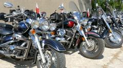 Motorbikes on a car park. Hobby Stock Footage