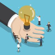 Isometric illuminated light bulb in businessman hand Stock Illustration