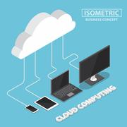 Isometric electronic devices connecting with cloud Stock Illustration