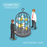 Isometric flying dollar trapped in bird cage - stock illustration