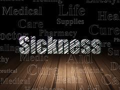 Medicine concept: Sickness in grunge dark room - stock illustration