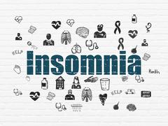 Health concept: Insomnia on wall background Stock Illustration