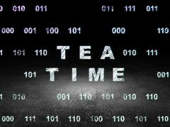 Time concept: Tea Time in grunge dark room Stock Illustration