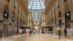 Milan 4k Time Lapse. Vittorio Emanuele Gallery. Central - stock footage