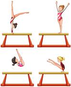Gymnastics players on balance beam Stock Illustration