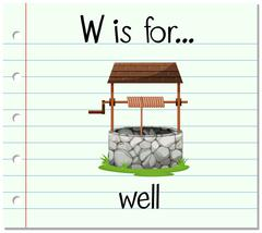 Flashcard letter W is for well Stock Illustration