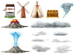 Different types of objects and clouds Stock Illustration