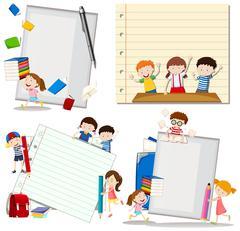 Paper design with children at school Piirros