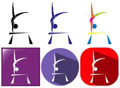 Sport icon design for gymnastics with beam Stock Illustration