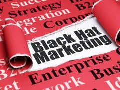 Finance concept: black text Black Hat Marketing under the piece of  torn paper - stock illustration