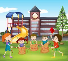 Children jumping sacks at school Piirros