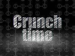 Business concept: Crunch Time in grunge dark room - stock illustration