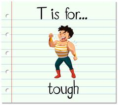 Flashcard letter T is for tough Stock Illustration