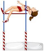 Female athlete doing high jump Stock Illustration